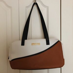 WHITE AND BROWN PURSE - CLASSY/CASUAL LOOK